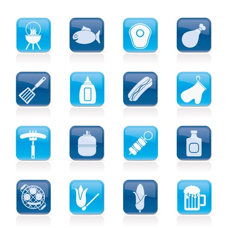 gas flame: Grill barbecue e le icone - Vector Icon Set
