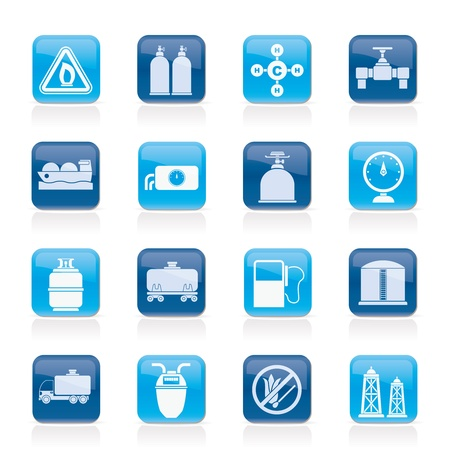 natural gas production: Natural gas objects and icons - vector icon set