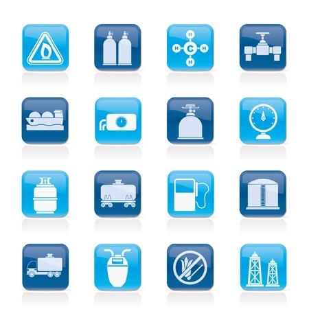 gas flame: Oggetti di gas naturale e le icone - set di icone vector Vettoriali