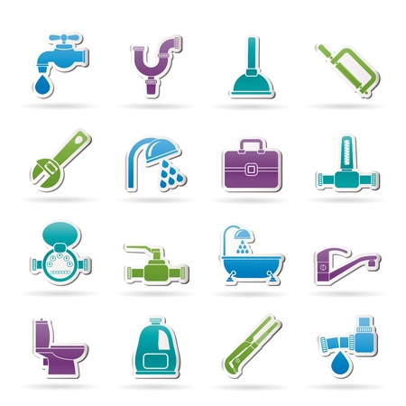 plomeria: objetos de plomería y los iconos de herramientas-set vector icono