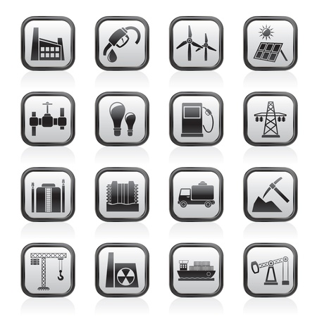 coal truck: Business and industry icons - vector icon set