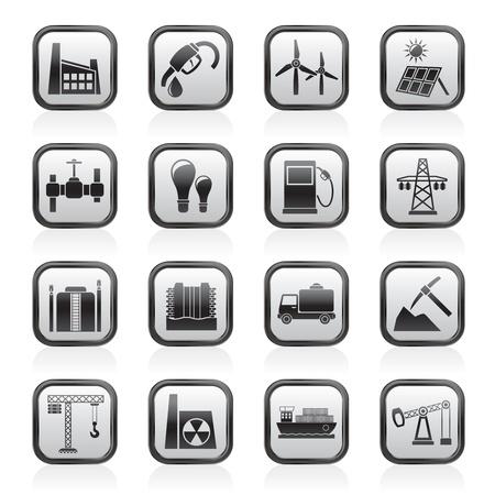 mineralien: Wirtschaft und Industrie Icons - Vector Icon Set