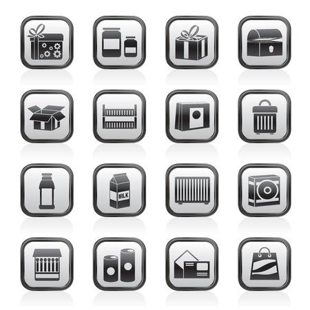 carton de leche: diferentes tipos de paquetes de iconos - conjunto de icono de vector