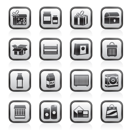 match box: different kind of package icons - vector icon set