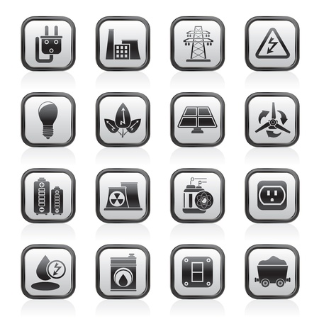 power, energy and electricity icons - vector icon set Stock Vector - 13709834