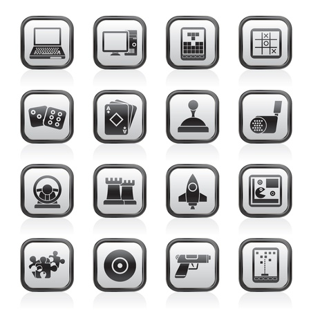 computer games: Computer Games tools and Icons - vector icon set