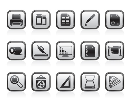 printers: Commercial print icons - vector icon set