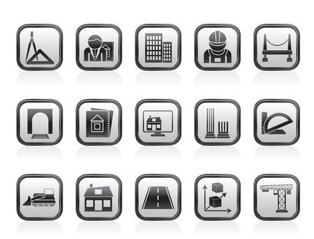 la arquitectura y la construcción de iconos - conjunto de icono de vector