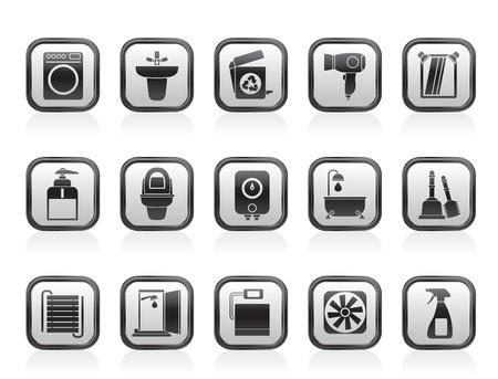 heizk�rper: Badezimmer und WC-Objekte und Icons - Vector Icon Set Illustration