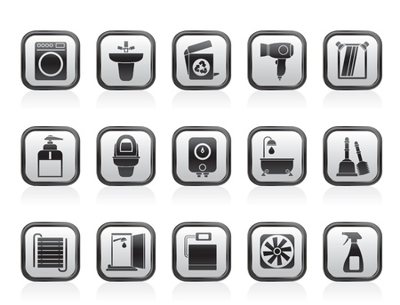 bidet: Bathroom and toilet objects and icons - vector icon set Illustration