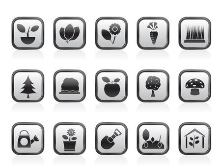 plantes aquatiques: Diff�rentes plantes et des ic�nes de jardinage - jeu d'ic�nes vecteur Illustration