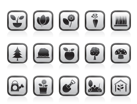 plant in pot: Verschillende planten en tuinieren Icons - vector icon set Stock Illustratie