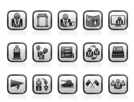 political party: Politics, election and political party icons - vector icon set Illustration