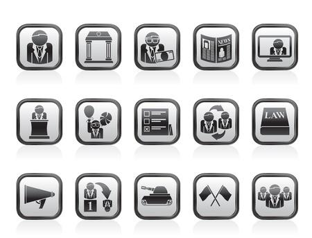 politics: Politics, election and political party icons - vector icon set Illustration