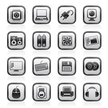Los productos de informática y los iconos conjunto - Accesorios vector icono Ilustración de vector