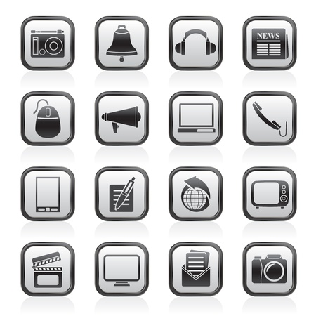 news papers: Communication and media icons - vector icon set Illustration