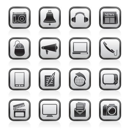 journal t�l�vis�: Ic�nes de la communication et des m�dias - jeu d'ic�nes vecteur Illustration