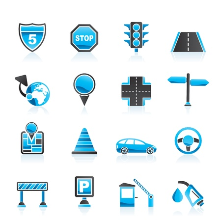 Traffic, road and travel icons - vector icon set Vector