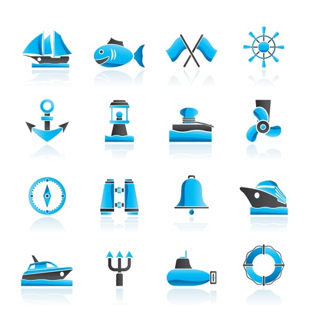 Marine, sea and nautical icons - vector icon set Vector