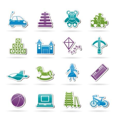 avi�n juguete: diferentes tipos de iconos de juguetes - conjunto de icono de vector Vectores