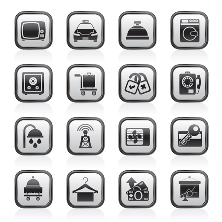 laundry room: Hotel and motel room facilities icons Illustration