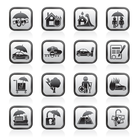 risks button: Insurance and risk icons - vector icon set
