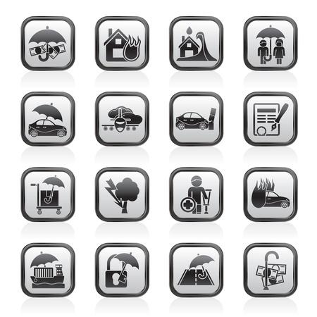 ubezpieczenia: Ubezpieczenia i ryzyko ikony - Icon Set wektor