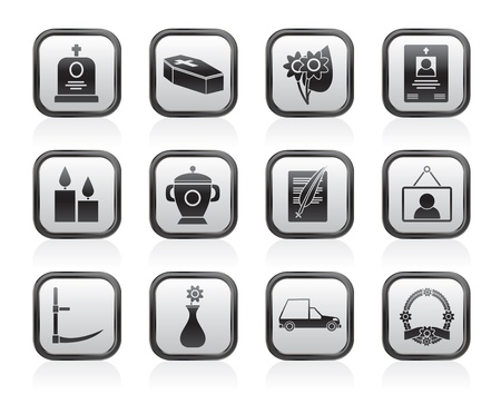 burial: funeral and burial icons Illustration