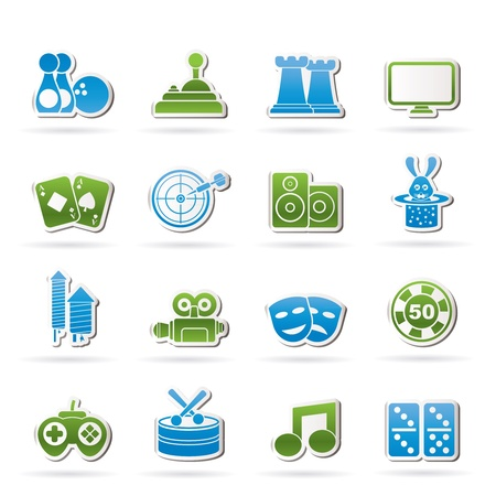 entertainment objects icons icon set Vector