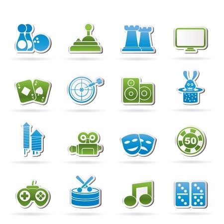 retreat: entertainment objects icons icon set Illustration