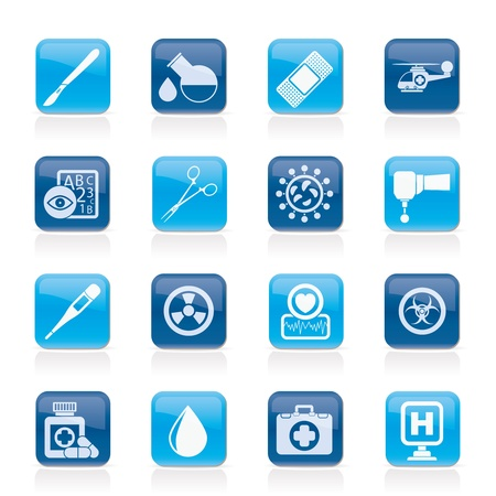infections: Medicine and hospital equipment icons icon set