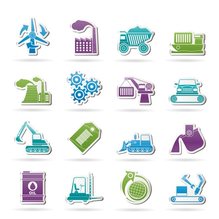 mine site: different kind of business and industry icons icon set Illustration