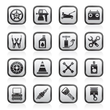 dyeing: Transportation and car repair icons - vector icon set