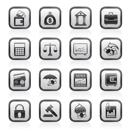 Business, finance and bank icons - vector icon set Vector
