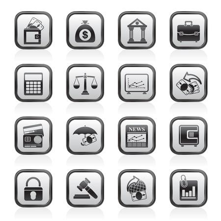 Negocios, las finanzas y el banco iconos - conjunto de icono de vector