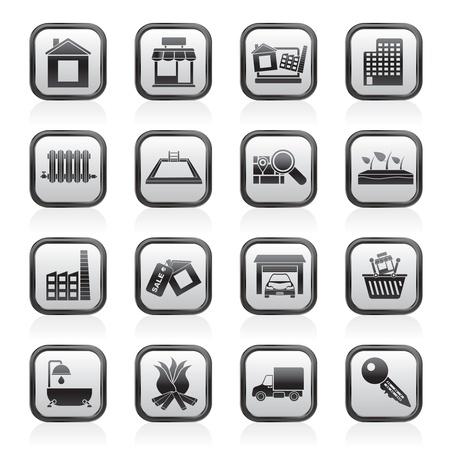 NieruchomoÅ›ci i ikony budowlane - Icon Set Vector