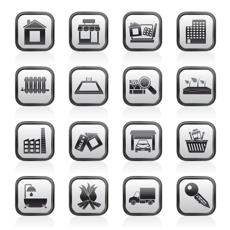 Real Estate e le icone di costruzione - Vector Icon Set
