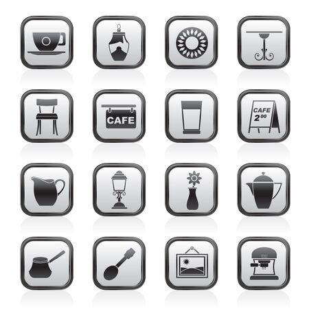 espresso machine: Café and coffeehouse icons - vector icon set