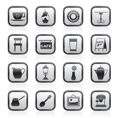schwarz: Caf� and coffeehouse icons - vector icon set