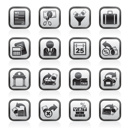 Taxes, business and finance icons - vector icon set Vector