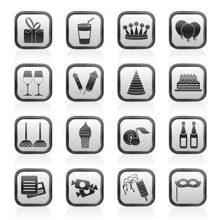 rekolekcje: urodziny i stroną ikony - zestaw ikon wektorowych