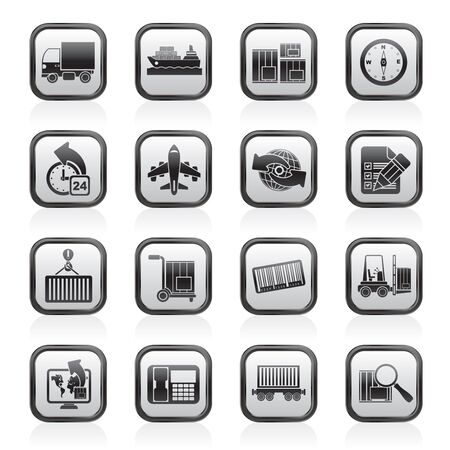 ship parcel: shipping and logistics icons - vector icon set Illustration