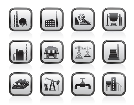 steel factory: Heavy industry icons - vector icon set