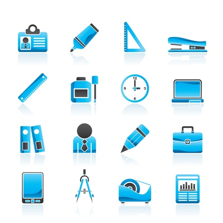 Business and office objects icons set Vector
