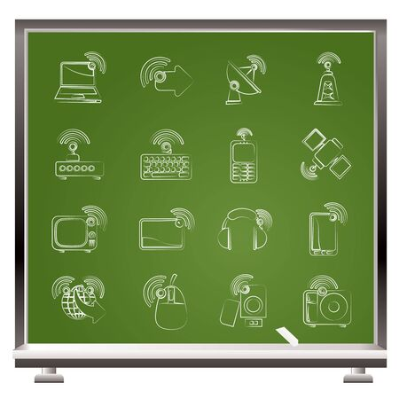 wireless and technology icons set Vector