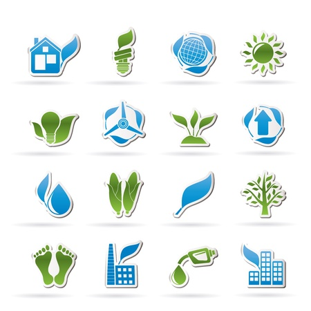 environment and nature icons set Vector