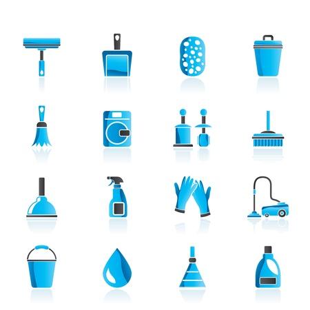 emmer water: Schoonmaak en hygiëne iconen - icon set Stock Illustratie