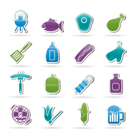 gas barbecue: Grilling and barbecue icons set