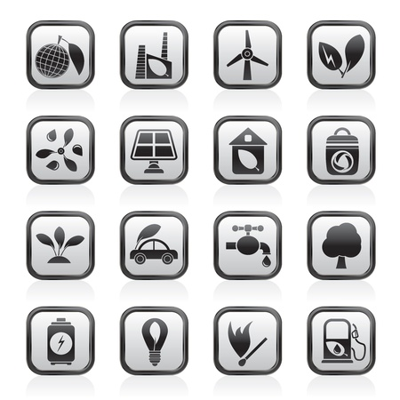 Green, Environment and ecology Icons Stock Vector - 13983664