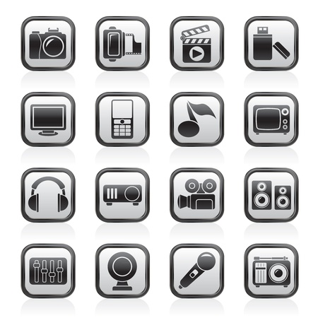 multimedia and technology icons Stock Vector - 13984115